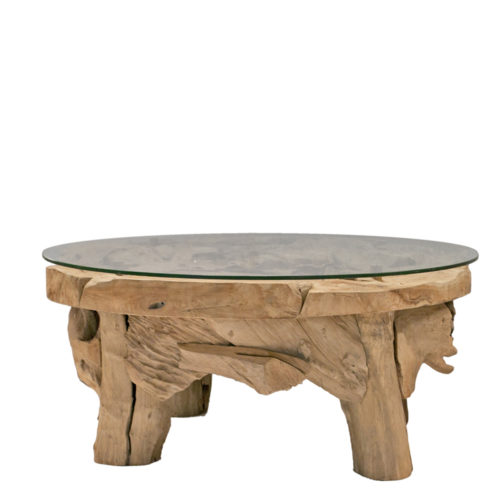 Coffee Table Teak Root Round 90 Cm With Glass  IMP-004