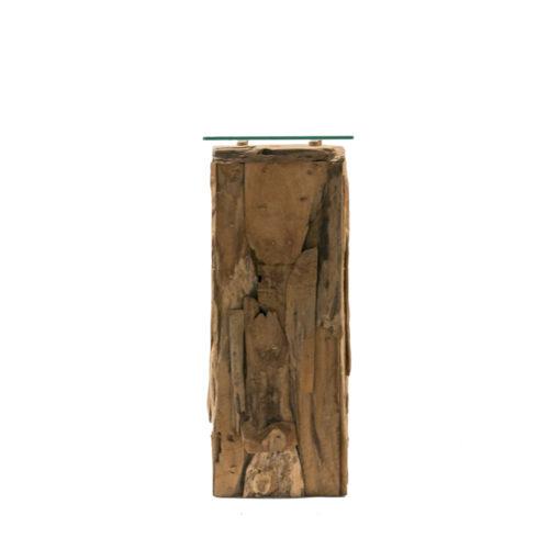 Pillar Teak Root With Glass  IMP-008