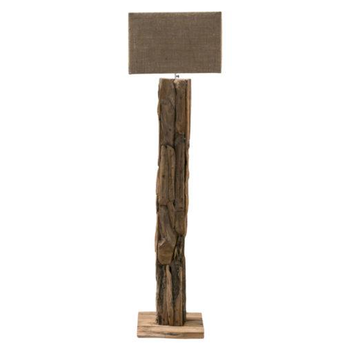 Teak Root Standing Lamp Square With Goni Kap  IMP-009