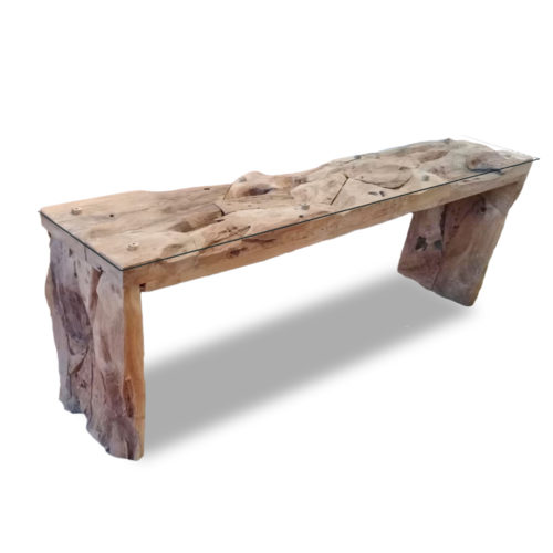Console Teak Root Block Legs With Glass  IMP-011