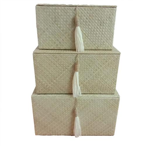 Pandanus Rect. Box Set Of 3 – W/ Tassel  PSI-011